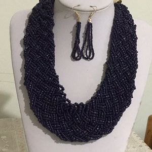 Navy blue glass seed bead braided necklace earring